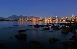 A noite cai em Vancôver, Canadá Foto de Stock