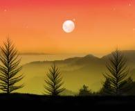 Noite calma bonita ilustração do vetor