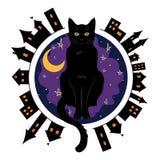 Noite a cidade velha e o gato de olhos verdes preto que sentam-se em um fundo do céu noturno estrelado ilustração royalty free