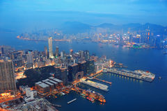 Noite da antena de Hong Kong Foto de Stock Royalty Free