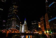 Noite da baixa de Chicago Imagens de Stock