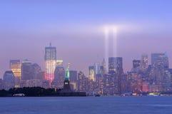 Noite da baixa de New York City Manhattan Imagem de Stock