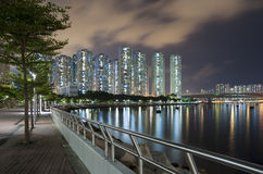 Noite da cidade de Hong Kong imagens de stock