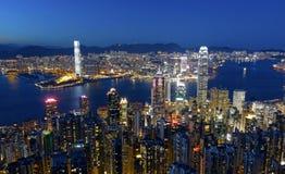 Noite da cidade de Hong Kong imagem de stock royalty free