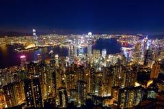 Noite da cidade de Hong Kong imagem de stock