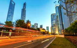 Noite da cidade de Shanghai Imagem de Stock
