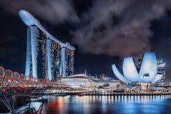 Noite da cidade de Singapura Imagens de Stock