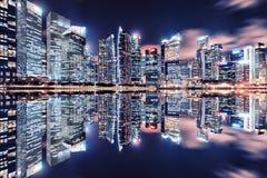 Noite da cidade de Singapura Imagens de Stock Royalty Free