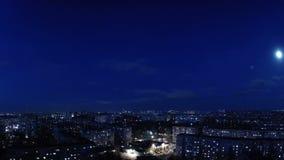 Noite da cidade. Timelapse filme