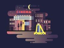 Noite da construção do cinema Imagem de Stock Royalty Free