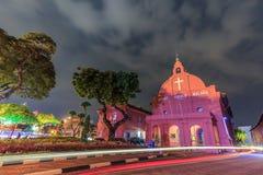 Noite da igreja de Melaka Fotografia de Stock