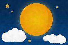 Noite da Lua cheia e estrelado Foto de Stock Royalty Free