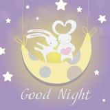 Noite da lua do coelho de dois brancos Imagem de Stock