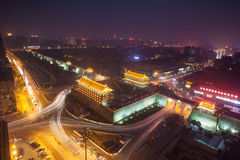 Noite da parede da cidade de Xi'an Fotografia de Stock
