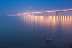Noite da ponte de Sutong Fotos de Stock