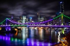 Noite da ponte da história foto de stock