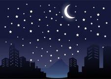Noite da silhueta no vetor da paisagem da cidade e da construção ilustração stock