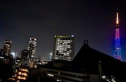 Noite da torre do Tóquio muitos colorem Fotos de Stock Royalty Free