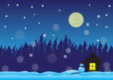 Noite de Christmast no campo de neve Fotos de Stock Royalty Free
