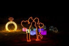 Noite de Coreia do festival da iluminação da luz de Illumia imagem de stock royalty free