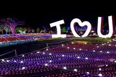 Noite de Coreia do festival da iluminação da luz de Illumia EU TE AMO fotos de stock royalty free