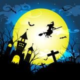 A noite de Dia das Bruxas com a árvore seca da silhueta, a bruxa idosa, o castelo, as sepulturas e os bastões vector o fundo da i Imagem de Stock