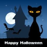 Noite de Dia das Bruxas com gato & a casa assombrada Imagens de Stock Royalty Free