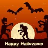 Noite de Dia das Bruxas com zombis e Lua cheia Fotos de Stock Royalty Free