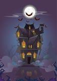 A noite de Dia das Bruxas da casa golpeia o voo ao redor ilustração stock
