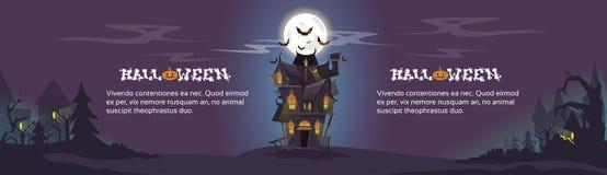 A noite de Dia das Bruxas da casa golpeia o voo ao redor ilustração do vetor