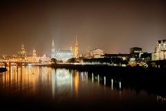 Noite de Dresden Fotografia de Stock