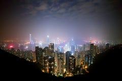 Noite de Hong Kong Imagens de Stock