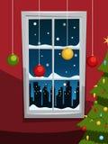 Noite de Natal com árvore e janela ilustração stock