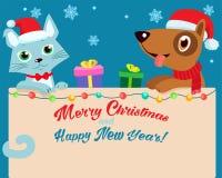 Noite de Natal Desenhos animados felizes Cat And Dog Friendship With Santa Hat Vetora Fundo do inverno do feriado da ilustração d ilustração stock