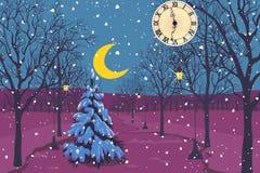 Noite de Natal mágica em um parque ilustração do vetor