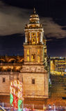 Noite de Natal metropolitana México de Zocalo Cidade do México da catedral Fotografia de Stock