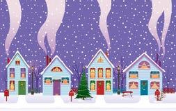 Noite de Natal na cidade Fotos de Stock Royalty Free