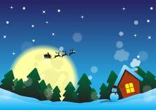 Noite de Natal perto da floresta Imagens de Stock Royalty Free