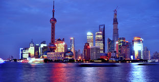 Noite de Shanghai Lujiazui Fotografia de Stock Royalty Free