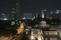 Noite de Singapore Fotos de Stock Royalty Free