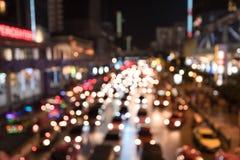 Noite do engarrafamento nas horas de ponta para o fundo da cidade da estrada Imagem de Stock