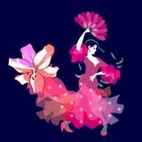 Noite do flamenco Dançarino espanhol da menina com o fã em suas mão e bainha de seu vestido na forma da flor grande do lírio em e ilustração stock