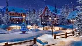 Noite do inverno antes do Natal na aldeia da montanha ilustração royalty free