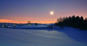 Noite do inverno com lua Fotos de Stock Royalty Free