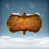 Noite do inverno com placa de madeira Imagens de Stock Royalty Free