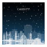 Noite do inverno em Cardiff ilustração stock