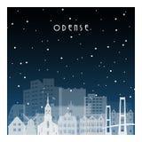 Noite do inverno em Odense ilustração royalty free