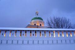 Noite do inverno em St Daniel Monastery em Moscou Foto de Stock