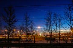 Noite do inverno em St Petersburg no envelhecimento Imagens de Stock Royalty Free