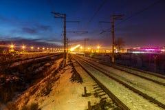 Noite do inverno em St Petersburg no envelhecimento Fotografia de Stock